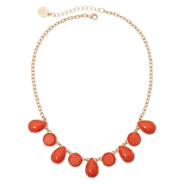 jcpenney.com | Liz Claiborne® Gold-Tone Orange Stone Collar Necklace