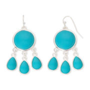 Liz Claiborne® Silver-Tone Blue Stone Chandelier Earrings