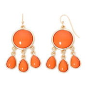 Liz Claiborne® Gold-Tone Orange Stone Chandelier Earrings
