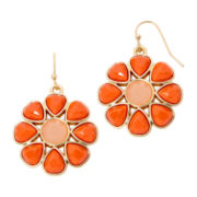 Liz Claiborne® Gold-Tone Orange Stone Flower Drop Earrings