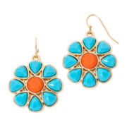 Liz Claiborne® Gold-Tone Blue and Orange Stone Flower Drop Earrings