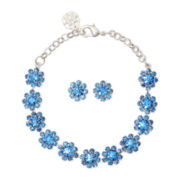 Monet® Silver-Tone Blue Stone Bracelet and Earring Boxed Set