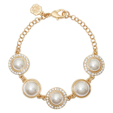 jcpenney.com | Monet® Gold-Tone Crystal and Simulated Pearl Bracelet