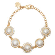 Monet® Gold-Tone Crystal and Simulated Pearl Bracelet