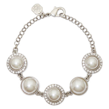jcpenney.com | Monet® Silver-Tone Crystal and Simulated Pearl Bracelet