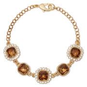 Monet® Gold-Tone Flex Brown Stone Bracelet