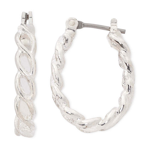 Liz Claiborne® Silver-Tone Small Rope Hoop Earrings