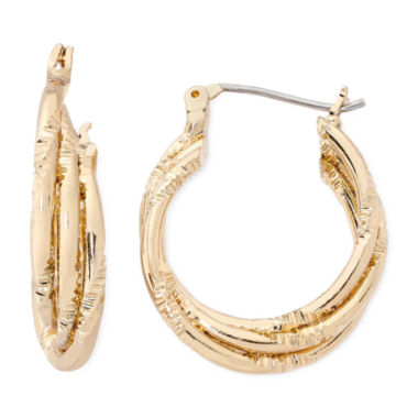 jcpenney.com | Liz Claiborne® Gold-Tone Small Twisted Hoop Earrings