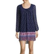 My Michelle® Long-Sleeve Border-Print Shift Dress