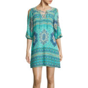 My Michelle® 3/4-Sleeve Lace-Up Printed Shift Dress- Juniors