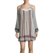 My Michelle® Spaghetti Strap Printed Cold-Shoulder Shift Dress