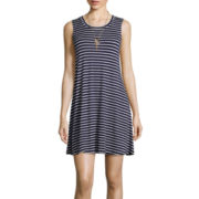 By & By Sleeveless Striped Knit A Line Dress
