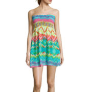 Sister Bohemian Vibe Smocked Bandeau Dress Swim Coverup - Juniors