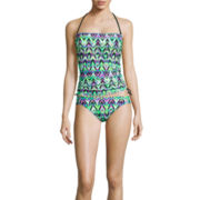Arizona Ziggy Extravaganza Bandeaukini Swim Top or Hipster Swim Bottom - Juniors