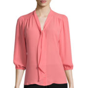 Heart & Soul® 3/4-Sleeve Bow Blouse
