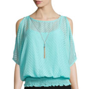 By & By 3/4-Sleeve Cold-Shoulder Necklace Blouse