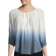 by&by 3/4-Sleeve Dip Dye Peasant Top