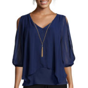 By & By Elbow-Sleeve Chiffon Split-Front Necklace Blouse