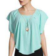 by&by Short-Sleeve Crepe Circle Necklace Blouse