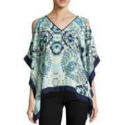 by&by Short-Sleeve Framed Print Poncho Top