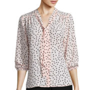 Heart & Soul® 3/4-Sleeve Polka Dot Bow Blouse