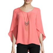 By & By Long Tulip-Sleeve High-Low Necklace Top