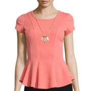 By & By Short-Sleeve Necklace Peplum Top