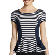 by&by Short-Sleeve Double Striped Peplum Top