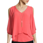 by&by 3/4-Sleeve Split-Front Knit to Woven Necklace Top