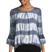 by&by Long-Sleeve Tie-Dye Bubble-Hem Top