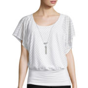 by&by Short-Sleeve Textured-Knit Necklace Top
