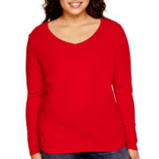 Stylus™ Long-Sleeve V-Neck T-Shirt - Plus