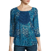 Arizona 3/4-Sleeve Lace-Inset Pintuck Woven Top