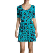 Decree® Elbow-Sleeve Knit Skater Dress - Juniors