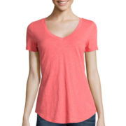 Stylus ™ Short-Sleeve Slub V-Neck T-Shirt