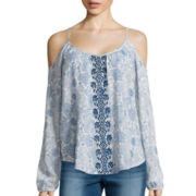 Rewind Long-Sleeve Cold-Shoulder Print Top