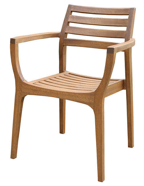 Outdoor Interiors Danish Eucalyptus Stacking Arm Chairs