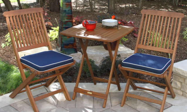 jcpenney.com | Outdoor Interiors 3pc. Square Bistro Set with BlueCushions