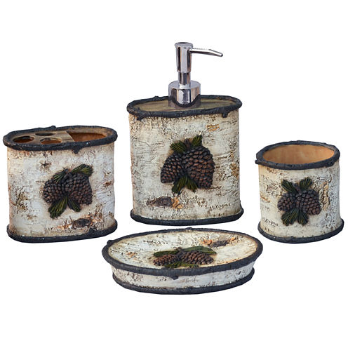 Hiend Accents Birch Pinecone 4-pc. Bath Accessory Set