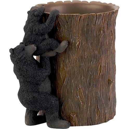 Avanti Black Bear Lodge Wastebasket