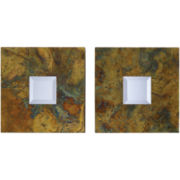Ambrosia Squares Set of 2 Beveled Decorative Wall Mirrors