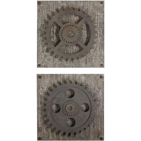 Rustic Gears Set of 2 Wall Decor