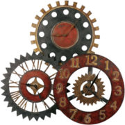Rusty Movement Metal Wall Clock Collage