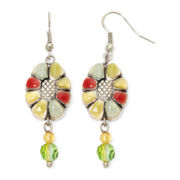 Aris by Treska Multicolor Stone Flower Drop Earrings