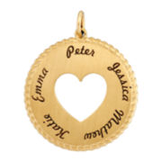 10K Yellow Gold Personalized Round Disc Heart Pendant Necklace