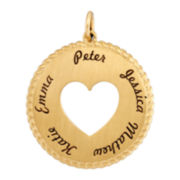 14K Yellow Gold Personalized Round Disc Heart Pendant Necklace