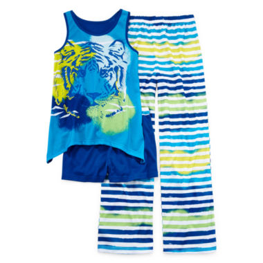 jcpenney.com | Total Girl® Ocean Tiger 3-pc. Sleep Set - Girls 4-16