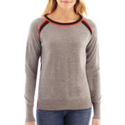 jcp™ Long-Sleeve Tipped Crewneck Sweater