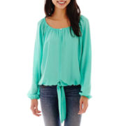 Self Esteem® Long-Sleeve Crochet-Trim Peasant Top