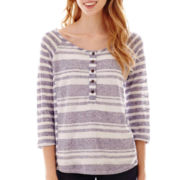 Late for Dinner 3/4-Sleeve Crochet-Panel Striped Henley